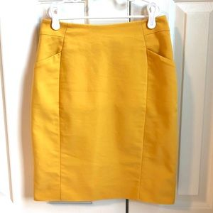 Mustard yellow pencil skirt with pockets!